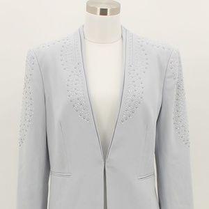 J CACHE Designer Blazer Size 8 Medium M Gray Sequi